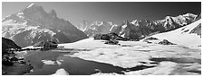 Partly Frozen Lac Blanc, Aiguille Verte, and Mont-Blanc range, Chamonix. France ( black and white)