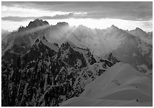 Sunrays over Chamonix Aiguilles, Aiguille Verte, Droites, and Courtes, Chamonix. France (black and white)