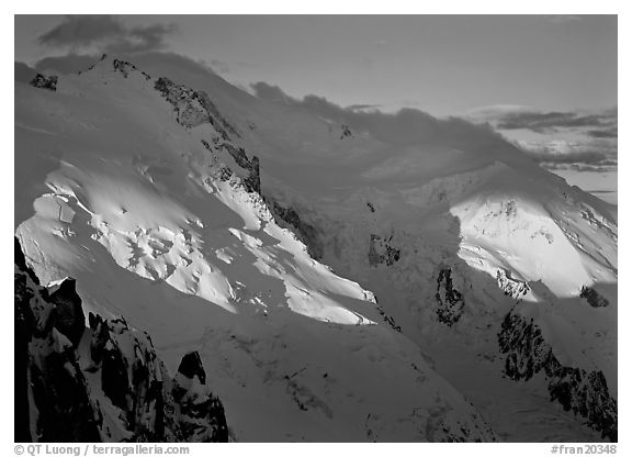 Mont Blanc and Dome du Gouter, early morning light, Chamonix. France (black and white)