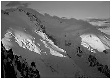 Mont Blanc and Dome du Gouter, early morning light, Chamonix. France ( black and white)