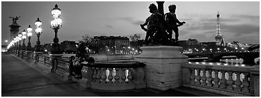 Alexander III bridge and Eiffel tower at dusk. Paris, France (Panoramic black and white)