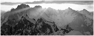 Rugged peaks of the Mont-Blanc Range. France (Panoramic black and white)