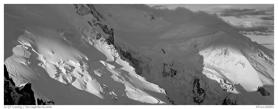 High mountain scenery, North Face of Mont-Blanc. France (black and white)