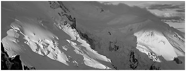 High mountain scenery, North Face of Mont-Blanc. France (Panoramic black and white)
