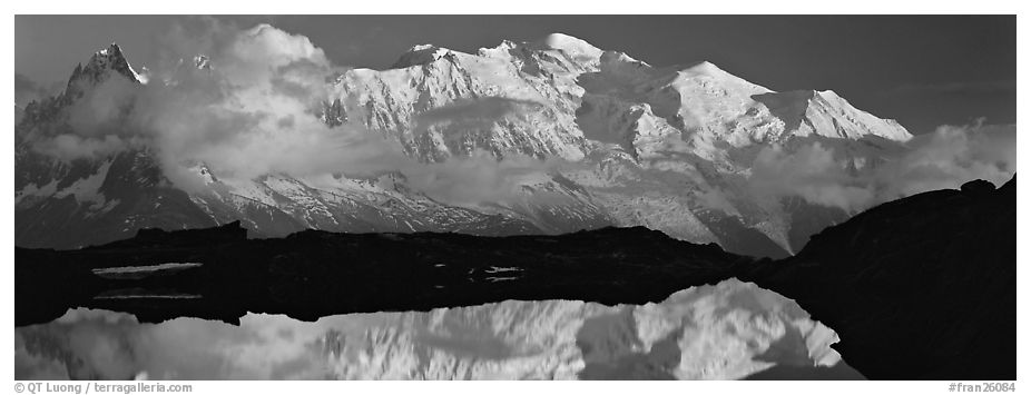 Mountain and sunset reflection, Mont-Blanc. France (black and white)