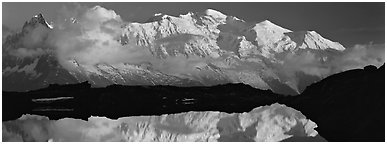 Mountain and sunset reflection, Mont-Blanc. France (Panoramic black and white)