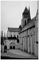 Abbaye de Frontevrault (Abbey of Frontevrault). Loire Valley, France (black and white)