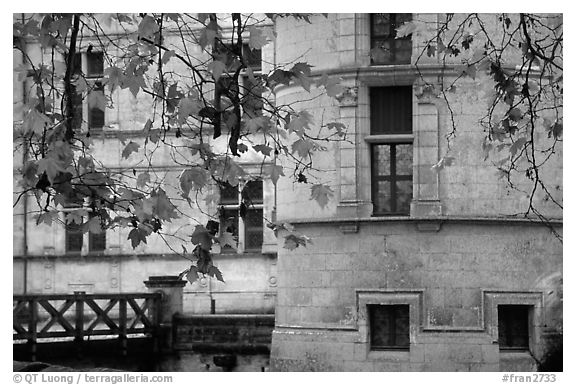 Azay-le-rideau chateau detail. Loire Valley, France (black and white)