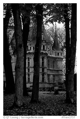 Azay-le-rideau chateau and Park. Loire Valley, France (black and white)