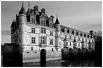 Chenonceaux chateau, built above the Cher river. Loire Valley, France (black and white)