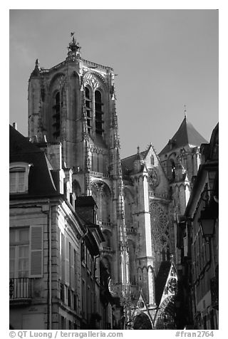 Town houses and Cathedral. Bourges, Berry, France (black and white)