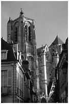 Town houses and Cathedral. Bourges, Berry, France ( black and white)