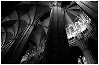 Soaring gothic columns, Saint-Etienne Cathedral. Bourges, Berry, France ( black and white)