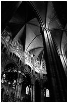 Gothic columns and nave inside Bourges Cathedral. Bourges, Berry, France (black and white)
