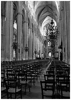 Inner aisle, the Saint-Etienne Cathedral. Bourges, Berry, France ( black and white)