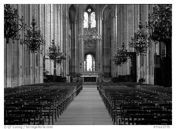 Nave,  Saint-Etienne Cathedral. Bourges, Berry, France (black and white)