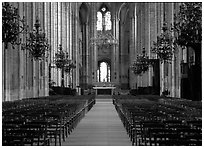 Nave,  Saint-Etienne Cathedral. Bourges, Berry, France ( black and white)