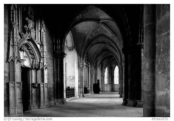 Black And White Picture Photo Outer Aisle The Saint Etienne Cathedral Bourges Berry France