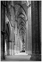 Side  aisle inside Bourges Saint Stephen Cathedral. Bourges, Berry, France ( black and white)
