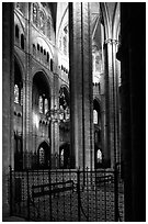 Interior view from choir, Saint-Etienne Cathedral. Bourges, Berry, France (black and white)