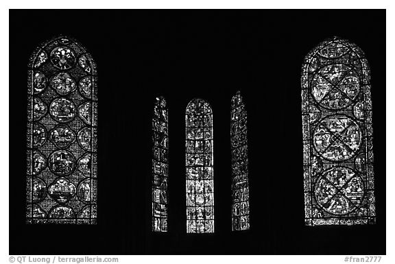 black and white picture photo stained glass windows bourges cathedral bourges berry france. Black Bedroom Furniture Sets. Home Design Ideas