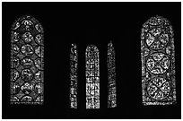 Stained glass windows, Bourges Cathedral. Bourges, Berry, France (black and white)