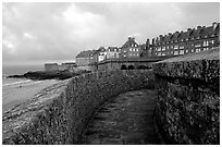 Along the ramparts of the old town, Saint Malo. Brittany, France ( black and white)