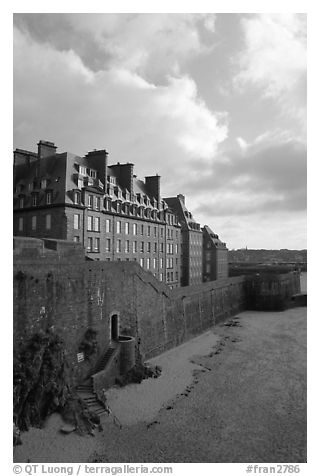 Ramparts of the old town, Saint Malo. Brittany, France (black and white)