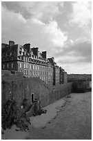 Ramparts of the old town, Saint Malo. Brittany, France ( black and white)