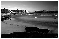 Harbor at low tide. Brittany, France (black and white)
