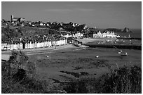 Cancale at low tide. Brittany, France ( black and white)