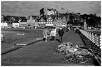 Pier and waterfront of Cancale. Brittany, France ( black and white)