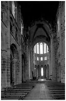Austere chapel inside the Benedictine abbey. Mont Saint-Michel, Brittany, France (black and white)