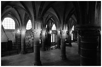 Hall of the knights inside the Benedictine abbey. Mont Saint-Michel, Brittany, France (black and white)