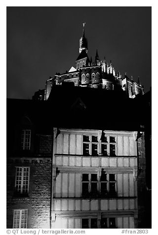 Medieval houses and abbey. Mont Saint-Michel, Brittany, France (black and white)