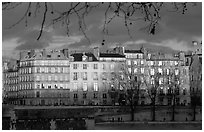 Waterfront houses on Saint-Louis island. Paris, France ( black and white)