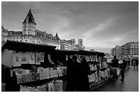 Bouquinistes (antiquarian booksellers) on the banks of the Seine. Paris, France (black and white)