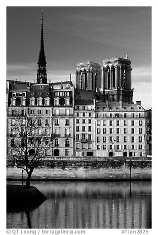 Saint-Louis island and Notre Dame. Paris, France (black and white)