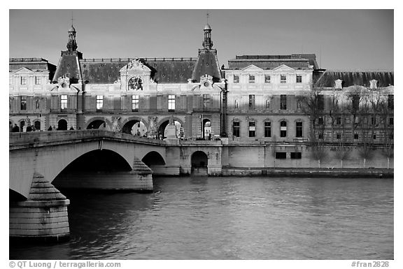 Louvre, Pont de Solferino, and Seine River at sunset. Paris, France (black and white)