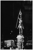 Statue of Joan of Arc on the place des Victoires. Paris, France ( black and white)