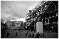 Georges Pompidou center and Beaubourg plaza. Paris, France (black and white)