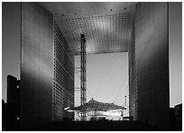 Grande Arche de la Defense at dusk. France (black and white)