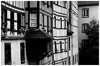 Half-timbered houses. Strasbourg, Alsace, France ( black and white)