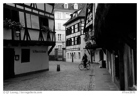 Street with half-timbered houses. Strasbourg, Alsace, France (black and white)