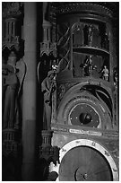 Astrological clock inside the Notre Dame cathedral. Strasbourg, Alsace, France ( black and white)