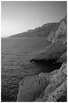Calanque de Morgiou at sunset. Marseille, France (black and white)