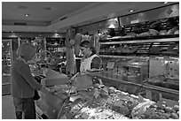 Inside a bakery. Paris, France ( black and white)