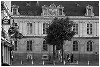 Square in front of City Hall, Amiens. France (black and white)