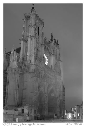 Cathedral at dusk, Amiens. France (black and white)