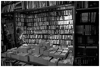 Checking a book in Shakespeare and Company bookstore. Quartier Latin, Paris, France (black and white)